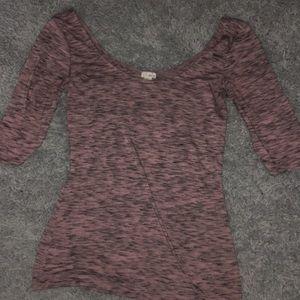 purple black cropped long sleeve shirt